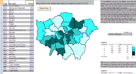 Excel Mapping Template for London Boroughs, and Wards